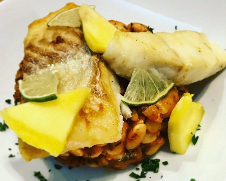 Max' Geschmacks Vorschlag: Kabeljau mit weißen Bohnen und Mango